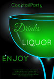 Green cocktail in coupe glass close up half. Neon cocktail with light glowing on black background. Design for cocktail menu, cocktail party, bar poster vector illustration