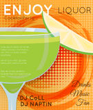 Green cocktail in coupe glass with slice of lime on orange halftone with grunge close up. Cocktail illustration on bright contemporary flat background. Design stock illustration