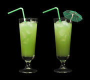 Green cocktail with cubes ice Royalty Free Stock Photography