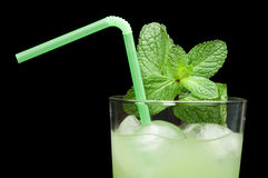 Green cocktail with cubes ice Stock Photos