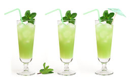 Green cocktail with cubes ice Stock Images