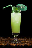 Green cocktail with cubes ice Royalty Free Stock Photo