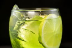 Green cocktail with gin, bitter lemon, basil and lemon stock photo