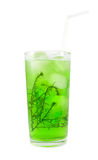 Green cocktail with herb isolated on white Royalty Free Stock Photography