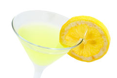 Green cocktail with lemon. Detail of green cocktail with lemon isolated on white background Stock Photos