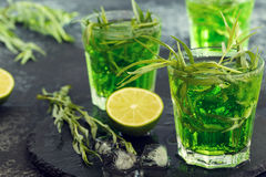 Green cocktail with lime, soda, crushed ice and tarragon leaves. Stock Photography