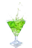Green cocktail with splash Royalty Free Stock Photos