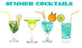 Green cocktails Blue Hawaiian Cosmopolitan Mojito tropical cockt Royalty Free Stock Images