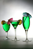 Green cocktails in row Stock Images