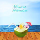 Green coconut cocktail Royalty Free Stock Images