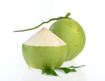 Green coconut isolated on white background stock image