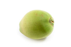 Green coconut on white stock photography