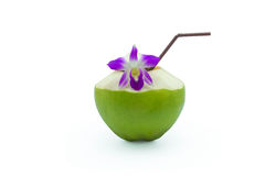 Green coconuts. With drinking straw isolated Royalty Free Stock Photo