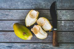 Green coconuts. And special machete knife for opening coconuts on the wooden baclground Royalty Free Stock Images