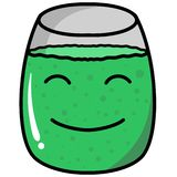 Green coctail glass vector doodle with white background. Or for websites and presentations, for prints stock illustration