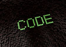 Green code word with digital background stock images