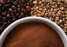 Green Coffee  Bean & Black Coffee Bean Stock Photos