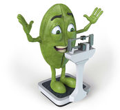 Green coffee bean on scale. 3d rendered illustration of a green, cartoon coffee bean standing on a scale with arms in the air royalty free illustration