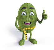 Green coffee bean with tape measure. 3d rendered illustration of a green coffee bean measuring his weight-loss with a tape measure and holding his thumb up Stock Image