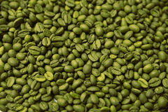Green coffee beans background. Green coffee beans lying flat, horizontal. Background Stock Images