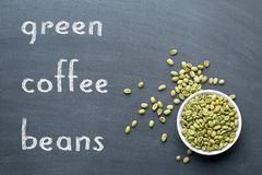 Green coffee beans on blackboard Royalty Free Stock Photography