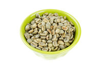 Green coffee beans in bowl Royalty Free Stock Photography