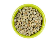Green coffee beans in bowl Royalty Free Stock Image