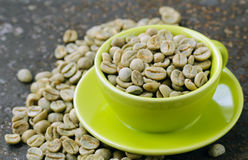 Green coffee beans close-up Royalty Free Stock Photography