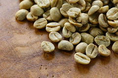 Green coffee beans close-up Stock Photo