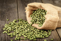 Green coffee beans in coffee bag made from burlap. Royalty Free Stock Photography