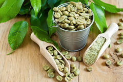 Green coffee. Beans and ground. Selective focus Royalty Free Stock Image