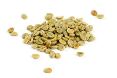 Green coffee beans isolated on whit Royalty Free Stock Image