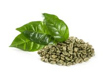 Green coffee beans. Isolated on a white background royalty free stock image