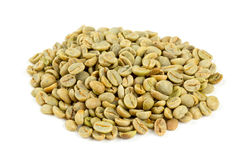 Green coffee beans isolated on white Stock Images