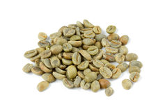 Green coffee beans isolated on white Royalty Free Stock Image