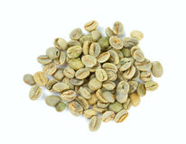 Green coffee beans isolated on white Royalty Free Stock Photo