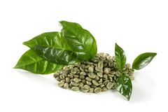 Green coffee beans. Isolated on a white background Stock Photos