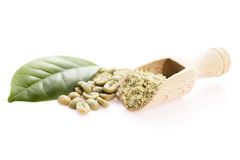 Green coffee beans with leaf Royalty Free Stock Image