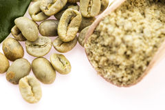 Green coffee beans with leaf Stock Image