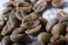 Green coffee beans, macro Stock Photo