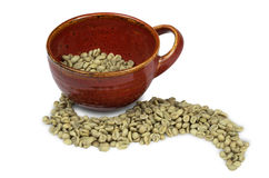 Green Coffee Beans With Red Mug Royalty Free Stock Photo