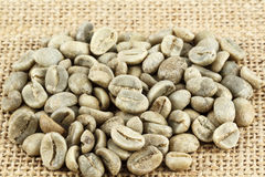 Green coffee beans shown on the canvas Royalty Free Stock Photo