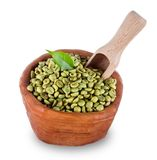 Green coffee beans in wooden bowl Stock Photos