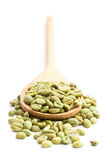Green coffee beans in wooden spoon Stock Images