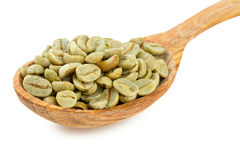 Green coffee beans in a wooden spoon Royalty Free Stock Photos