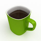 Green Coffee Cup Full of Coffee Stock Photography