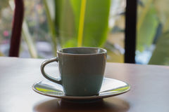 Green coffee cup. It is hot and has a smoke Stock Photography