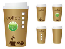 A green coffee cup  illustration with the words coffee and eco sign Royalty Free Stock Images