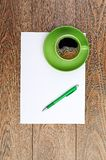 Green coffee cup on white blank Royalty Free Stock Photo
