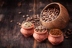 Green coffee. Ground coffee. Roasted black coffee Royalty Free Stock Image